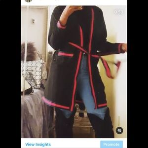 Black Robe/Cardigan With Red/Green Trim